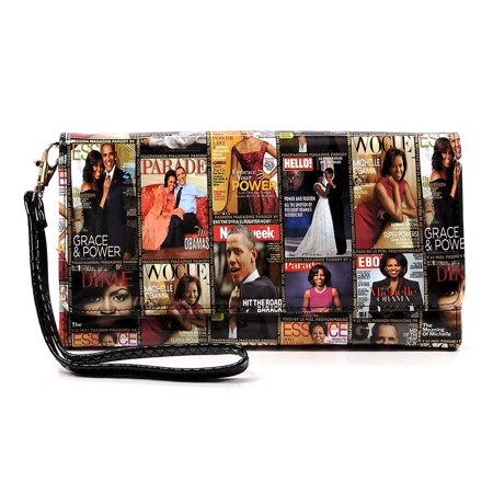Glossy magazine cover collage Michelle Obma printed crossbody wallet purse with wrist band