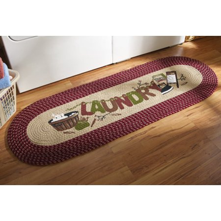 48 Inch Braided Burgundy Runner Floor Rug Laundry Decoration Mat Wash Room Decor by KNL Store