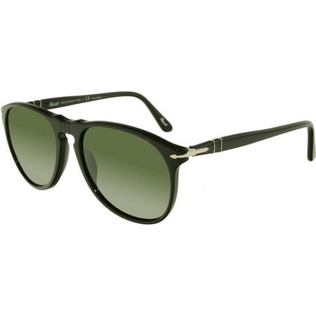 Persol Men's Polarized PO9649S-95/58-55 Black Oval Sunglasses