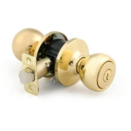 Brink's Keyed Entry Ball Style Knob, Polished Brass