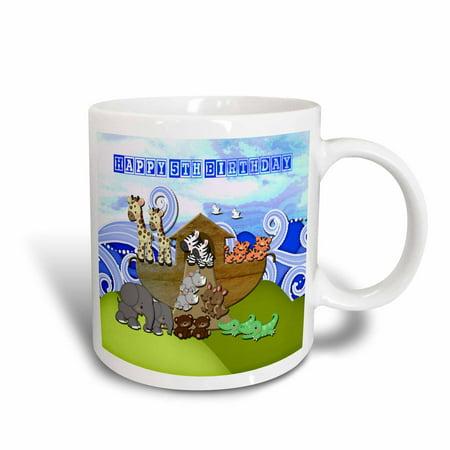 3dRose Animals on Ark, Happy 5th Birthday, Block Font - Ceramic Mug, 11-ounce](Happy Birthday Halloween Font)