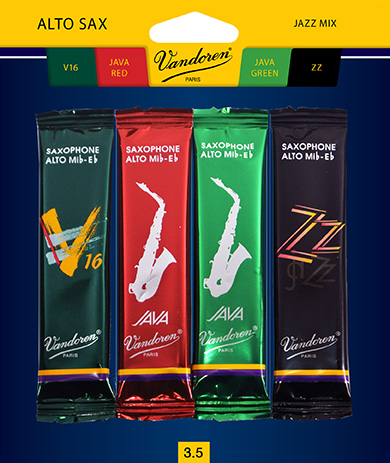 Vandoren Alto Sax Jazz Reed Mix Card includes 1 each ZZ, V16, Java and Java Red Strength... by Vandoren