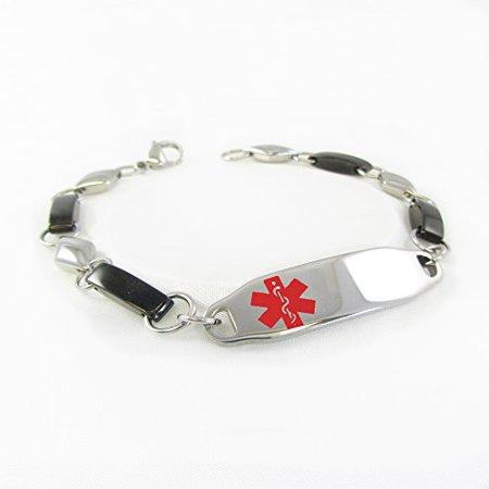 Myiddr Womens Medical Alert Bracelet Pacemaker Pre Engraved Fancy Steel Chain