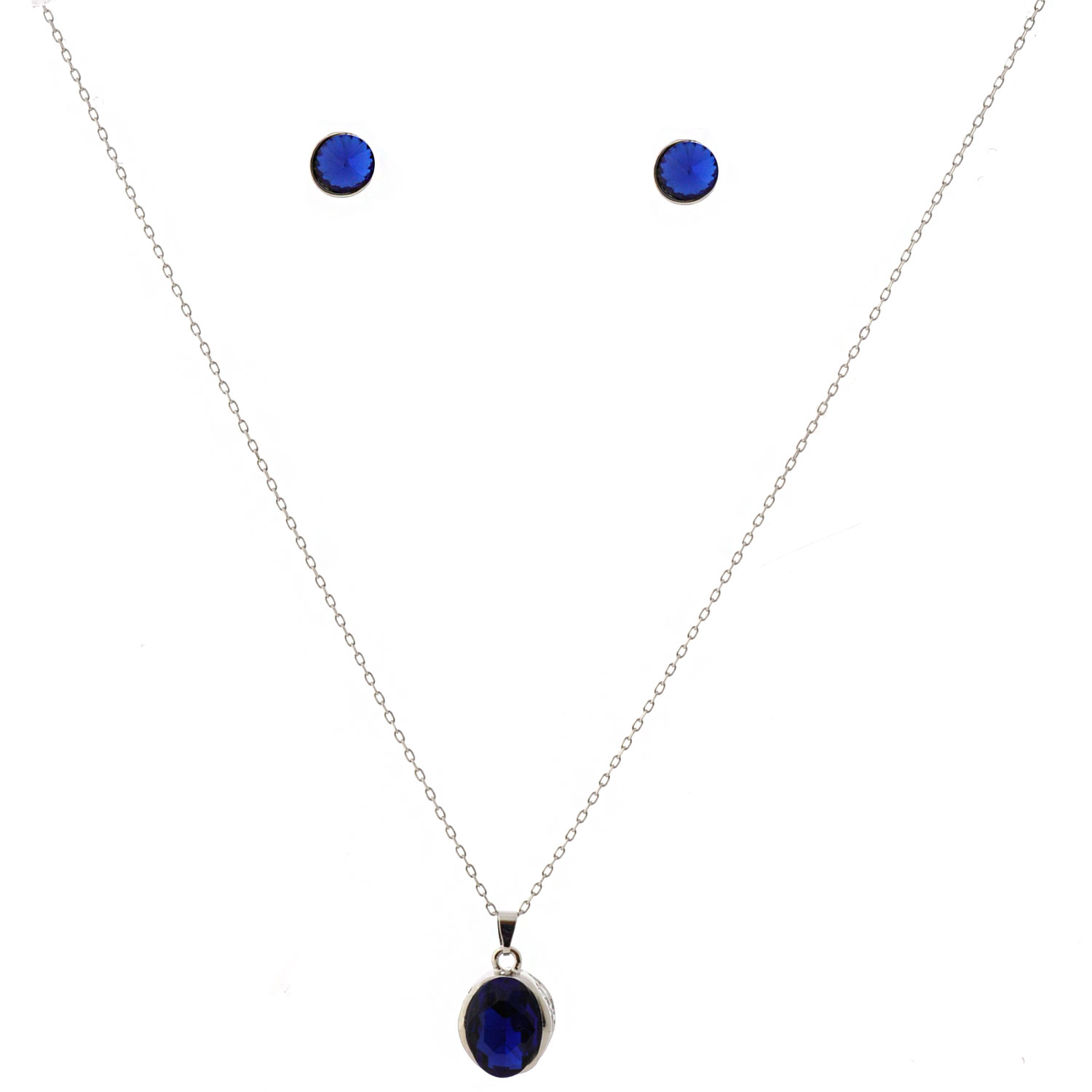 Rhodium Plating Sapphire Stud Earrings and Pendant Necklace Jewelry Set by coolcrystal