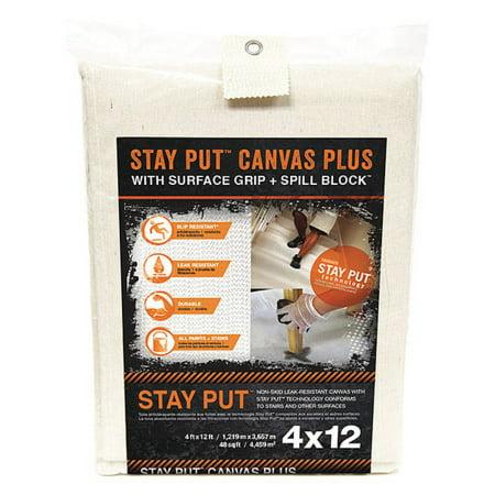 Trimaco 04328 4 X 12 White Canvas Stay Put Drop Cloth