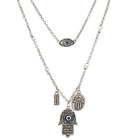 - Lux Accessories Boho Burnish Silver Many Hamsa Evil Eye Charm Layered Necklace
