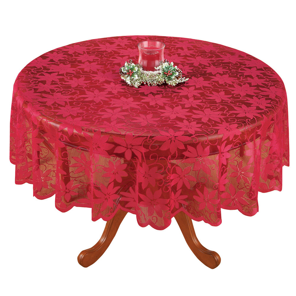 Poinsettia Red Lace Christmas Tablecloth, Round