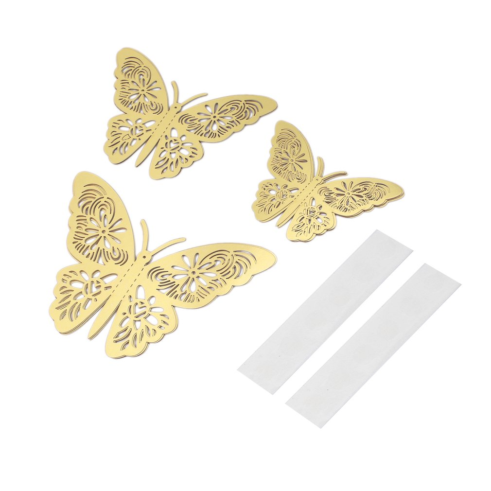 OCDAY 12pcs G-005 3D Butterfly Stickers Hollow DIY Decal Wall Party ...