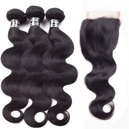 Beroyal Bundles with Closure Body Wave with Closure Brazilian Virgin Human Hair with Closure Free Part Natural Color, 16