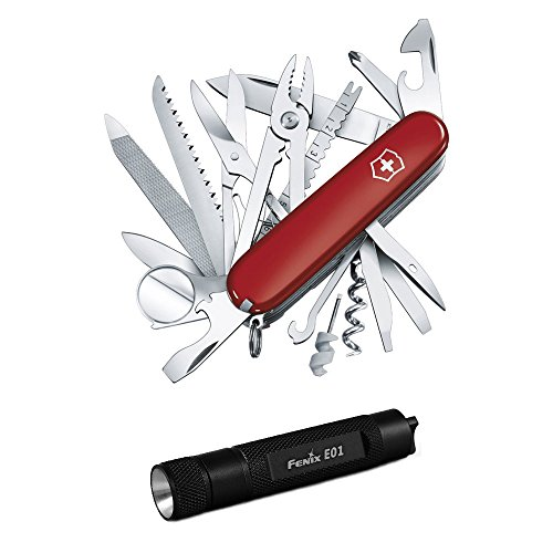 Victorinox Swiss Army SwissChamp Knife (Red) with Compact Keychain LED Flashlight