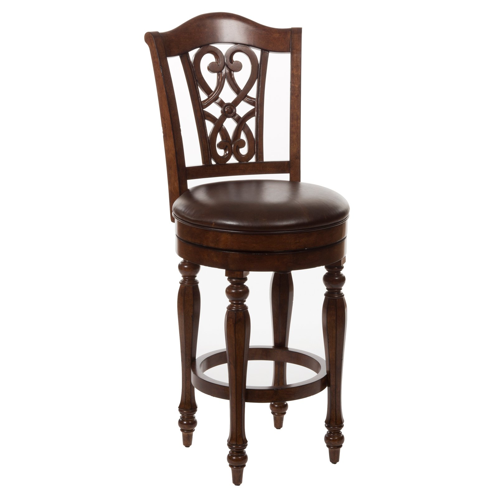 Hillsdale Hamilton Park Scroll Back Swivel Bar Stool Dark Brown