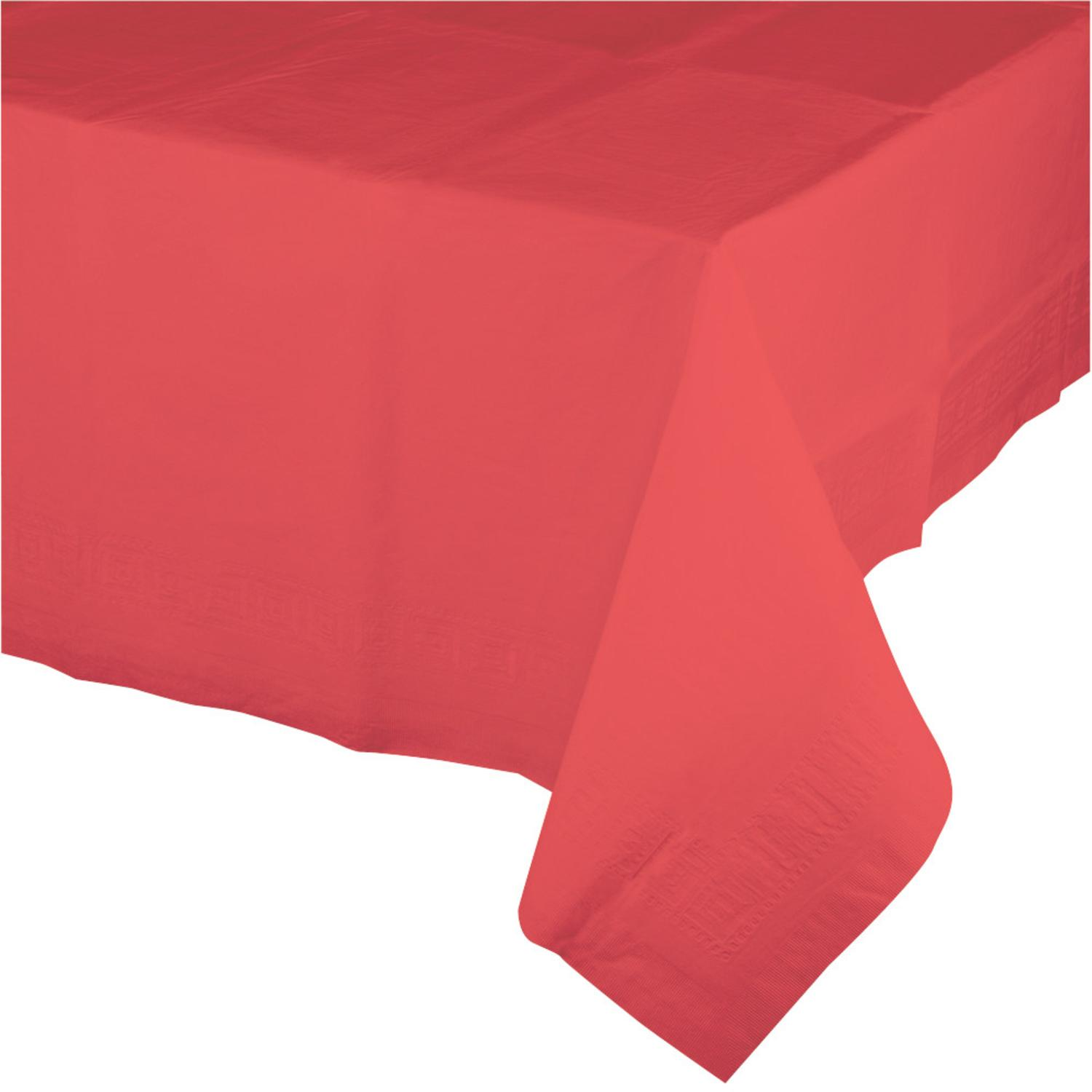 Club Pack of 24 Coral Disposable Plastic Banquet Party Table Covers 108