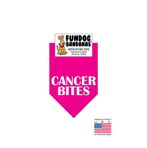 MINI Fun Dog Bandana - Cancer Bites - Miniature Size for Small Dogs under 20 lbs, hot pink pet scarf