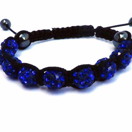 Sparkly Crystals Hand Made Shamballa - Blue Crystal and Hematite Shamballa Bracelet Blue