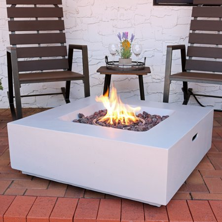 Sunnydaze Contempo Propane Gas Fire Pit with Outdoor Weather-Resistant Durable Cover and Lava Rocks, 34-Inch Square