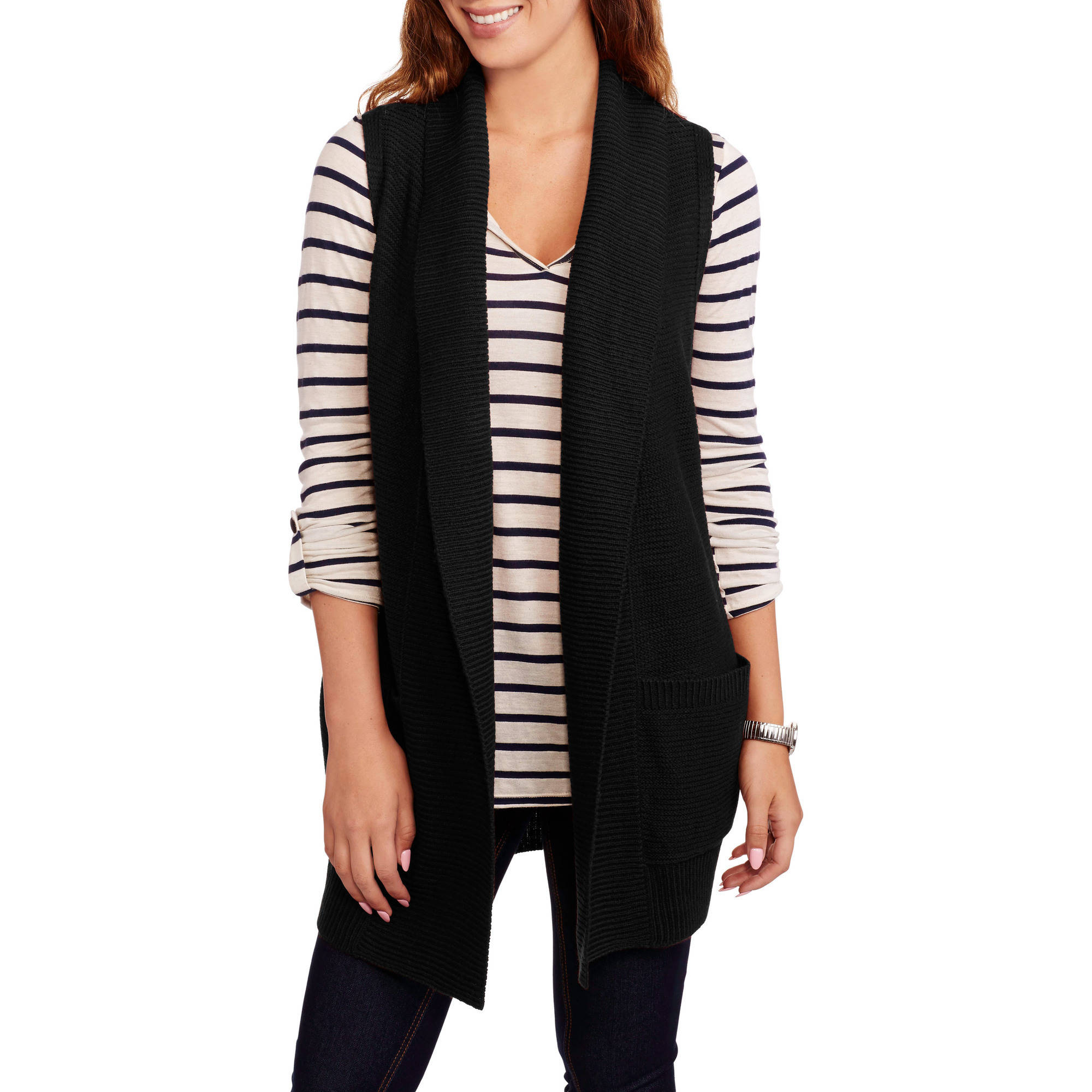 Faded Glory Women's Sleeveless Shawl Collar Sweater Vest - Walmart.com