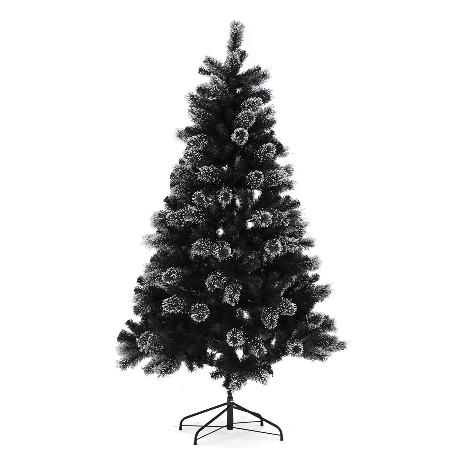 Belham Living Un Lit Flocked Black Christmas Tree 6 5 Ft Walmart Com Walmart Com