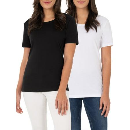 Time and Tru Women's Essential Short Sleeve Crewneck T-Shirt, 2 Pk Bundle True Fit T-shirts