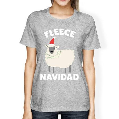Screen Fleece Sweatshirts - Fleece Navidad Grey Women's Shirt Funny Christmas Gift Graphic Tee