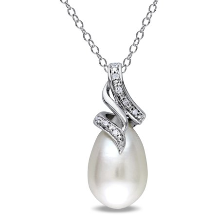 Sterling Silver Cultured Freshwater White Pearl and Diamond Accent Drop Necklace (9-9.5 (Diamond Accent Drop Necklace)