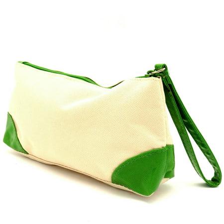 Clinique Ivory & Green w/Zipper Cosmetic Makeup Travel Bag