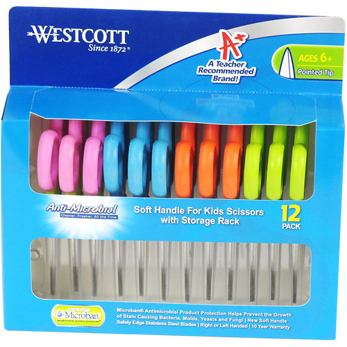 Westcott Pointed Tip Scissors with Microban, 12 Pack