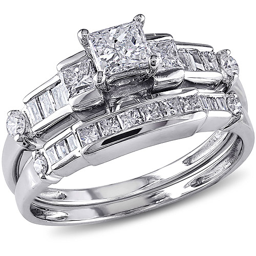 1 Carat T.W. Princess and Parallel Baguette- with Round-Cut Diamond 14kt White Gold Bridal Set