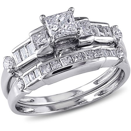1 Carat T.W. Princess and Parallel Baguette- with Round-Cut Diamond 14kt White Gold Bridal