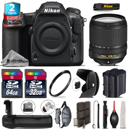 Nikon D500 DSLR + 18-140mm VR Lens + Battery Grip + Extra Battery - 96GB Kit (New Battery Grip)