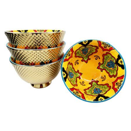 """Ebros Set of 4 Luxury Gold Plated Personal Sized Dining Bowls 6""""Diameter Made Of Ceramic Bowl Ideal For Ramen Noodles Soup Rice & Dinner Party Hosting (Orange Pea Pods)"""