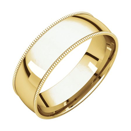 14K Yellow Gold 6 mm Milgrain Light Comfort-Fit Wedding Band Ladie's Ring Size 7 for Womens