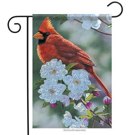 Springtime Cardinal Garden Flag Double Sided Bird Floral 12.5