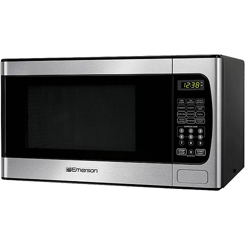Emerson 0.9 cu ft Microwave Oven, Stainless Steel Front Finish