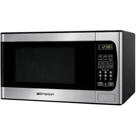 Emerson 0 9 Cu Ft Microwave Oven Stainless Steel Front Finish