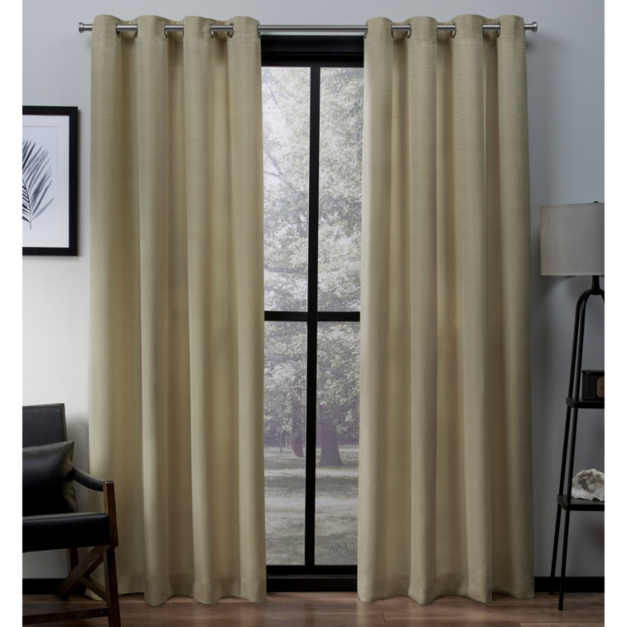 Exclusive Home Curtains 2 Pack Virenze Faux Silk Grommet Top Curtain Panels