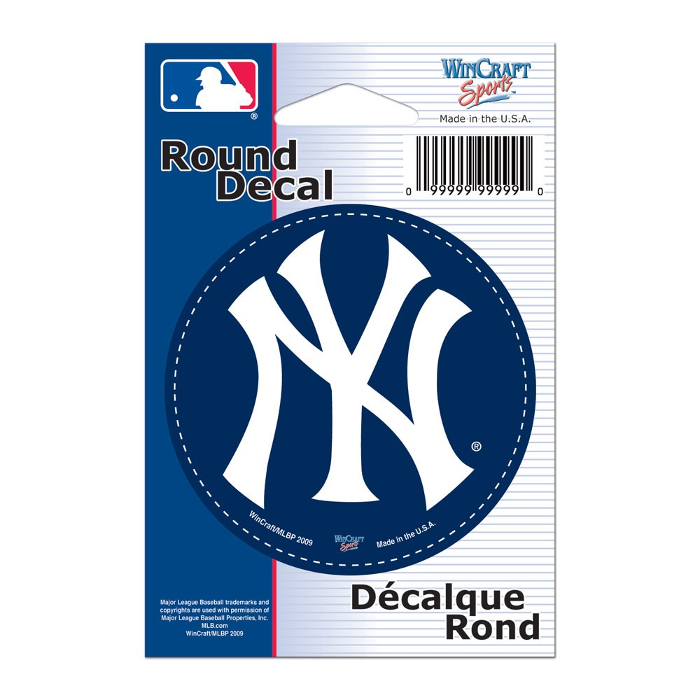 New York Yankees Official MLB 3 inch  Round Vinyl Car Decal by Wincraft