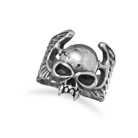 Skull Ring with Vampire Fangs and Wings Antiqued and Polished White Brass - Scarecrow Vampire Fangs Small