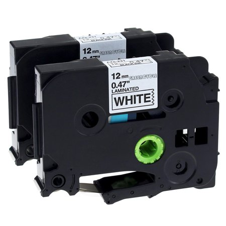 GREENCYCLE 2PK Compatible Black on White 12mm TZ Tze Tze-231 TZ-231 TZe231 TZ231 Laminated Label Tape for Brother P-touch PT-H100 PT-D450 PT-E550W Label Maker Brother P-touch Tc20z1 Laminated Tape