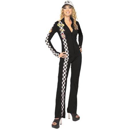 Women's  Adult Black Racer Race Car Driver Jumpsuit Costume