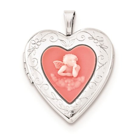 925 Sterling Silver Polished Pink Agate Angel Heart Locket Charm Pendant ()