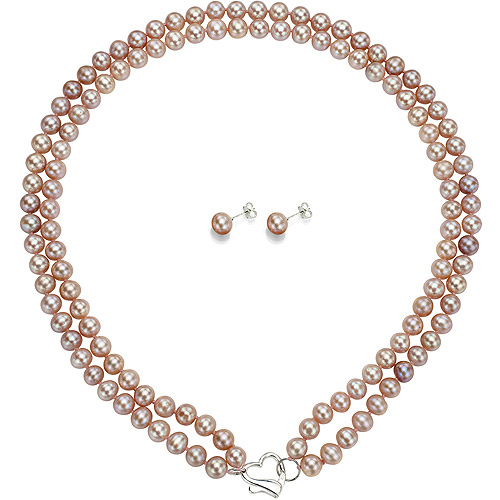 "Image of Double Row 6-7mm Pink Freshwater Pearl Heart-Shape Sterling Silver Clasp Necklace (18"") with Bonus Pearl Stud Earrings"