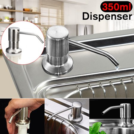 Kitchen Sink Clear Liquid Lotion Hand Soap Dispenser 350ML 304 Stainless  Steel Pump Head ABS Bottle Refillable Bathroom Accessories
