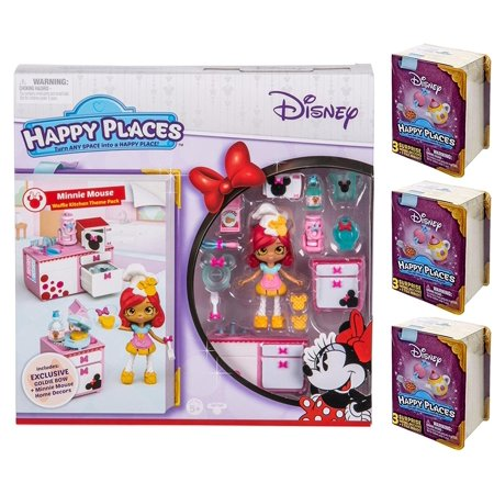 Happy Places Disney Minnie Mouse Waffle Kitchen Theme Pack and 3 Surprise Packs - Minnie Mouse Pack And Play