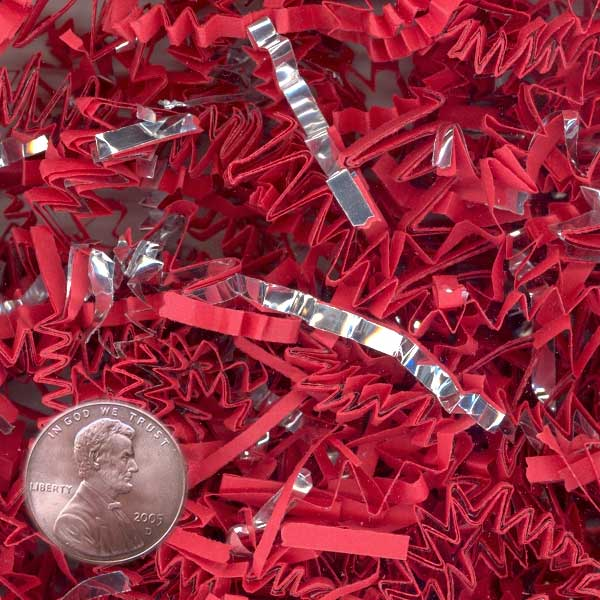 Red And Silver Crinkle Cut Paper Shred by CRINKLE CUT by Paper Mart