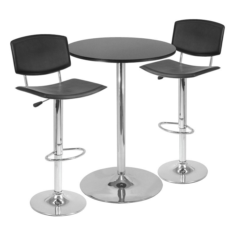 Winsome 3-Piece Pub Table Set with Curved Back Stool