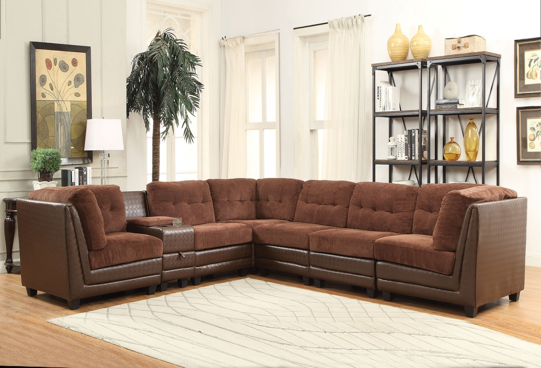 Merveilleux Vlord 52230 Reversible Sectional Sofa With 3 Wedges 3 Armless Chairs  Console Cup Holders Tufted Back