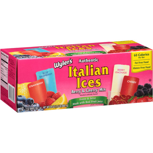 Wyler's Authentic Italian Ices Berry & Cherry Mix Bars, 2 oz, 12 count