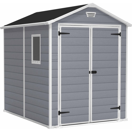 Keter Manor 6' x 8' Resin Storage Shed; All Weather Plastic Outdoor Storage, Gray/White