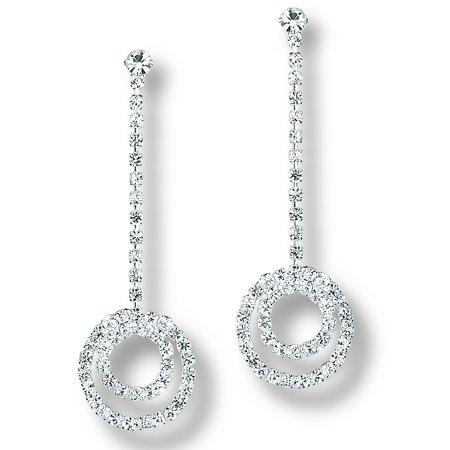 Glamour Dess Jewelry Er004cs Pierced Dangle Rhinestone Earrings Crystal Double Circles Prom