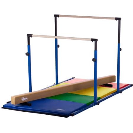 Blue 3Play Bars - Uneven Bars - Parallel Bars - Tan Low Balance Beam and Rainbow Folding Gymnastics (Parallel Bar System)